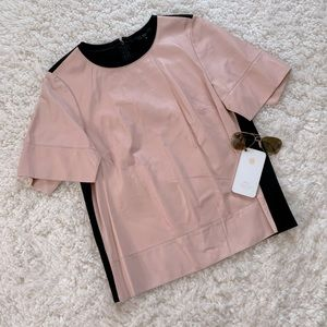 Tibi Pink Leather Short Sleeve Top